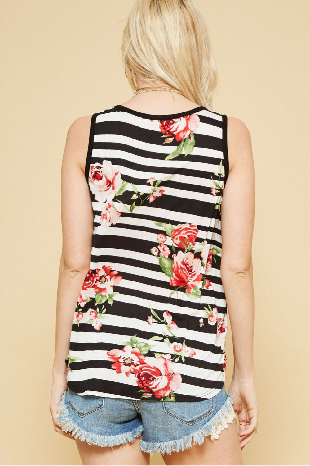 Sleeveless Floral Striped Top