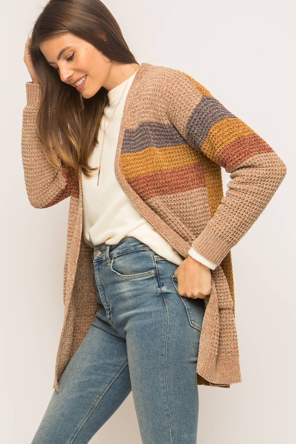 Tan/Mustard Color Block Open Chenille Cardigan
