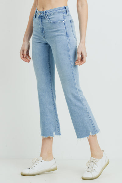High Rise Crop Flare Distressed Hem in Light Denim