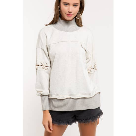 Oatmeal Turtleneck Sweatshirt