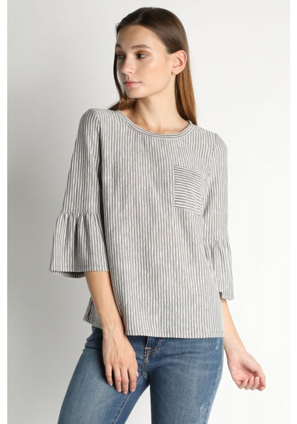 Grey Stripe Bell Sleeve Top
