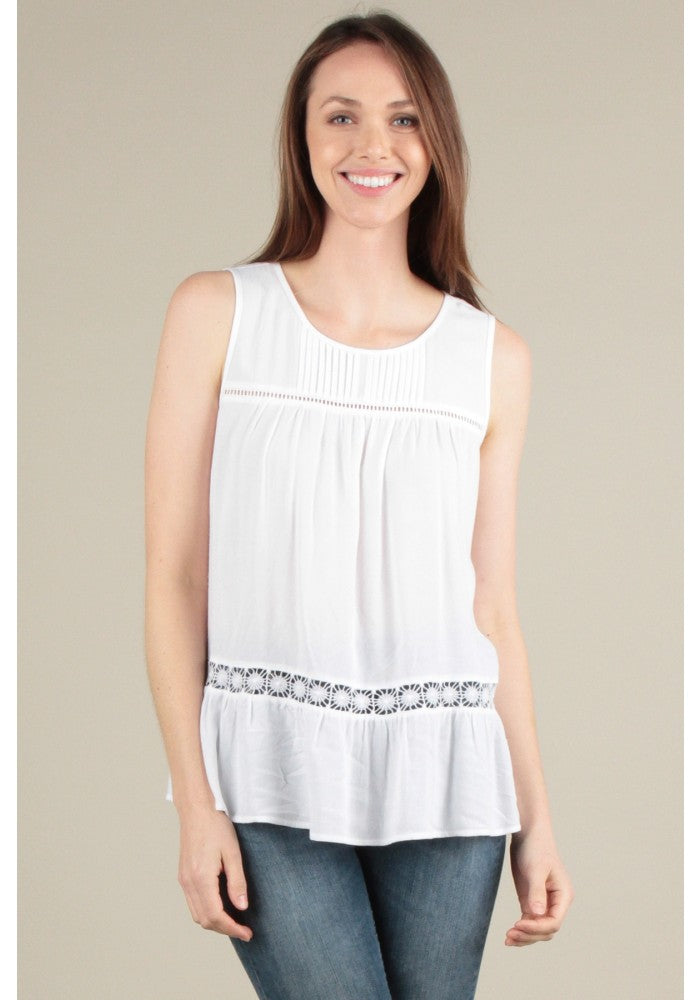 Ivory Sleeveless Pin Tuck Top