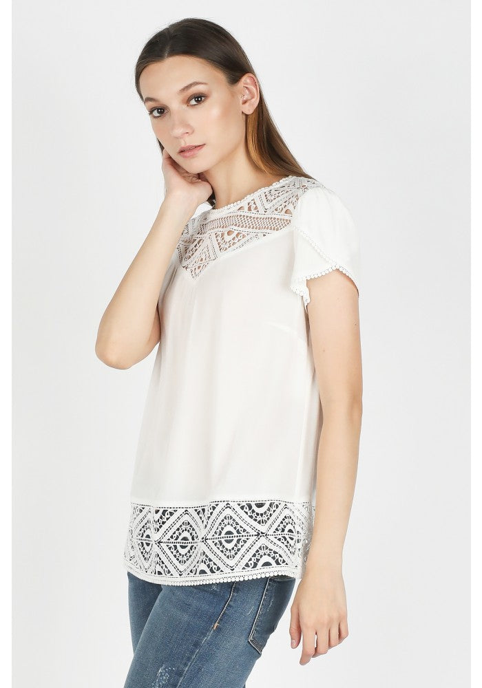 Tulip Sleeve Mixed Lace Top