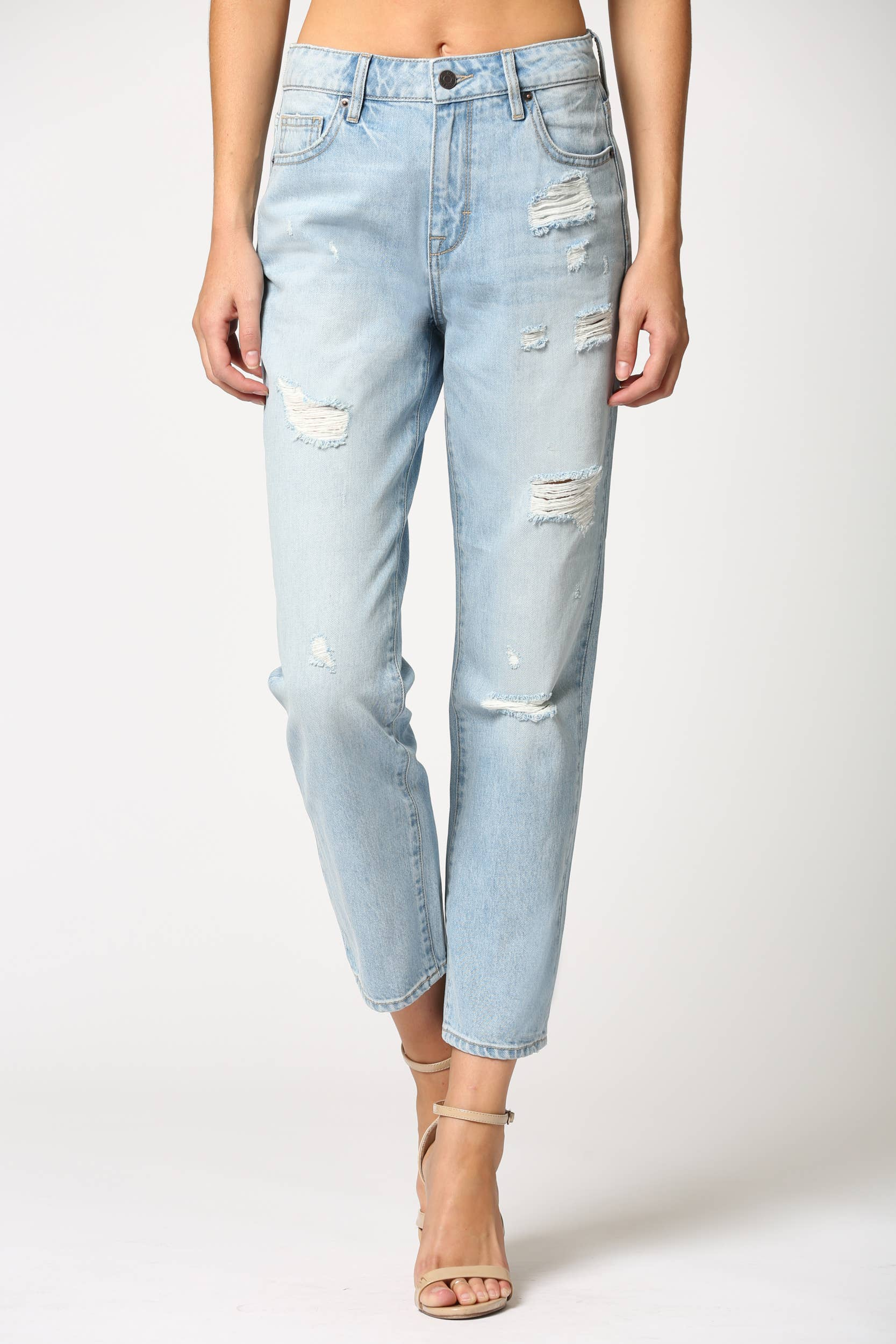 High Rise Classic Straight Leg Distressed Jeans