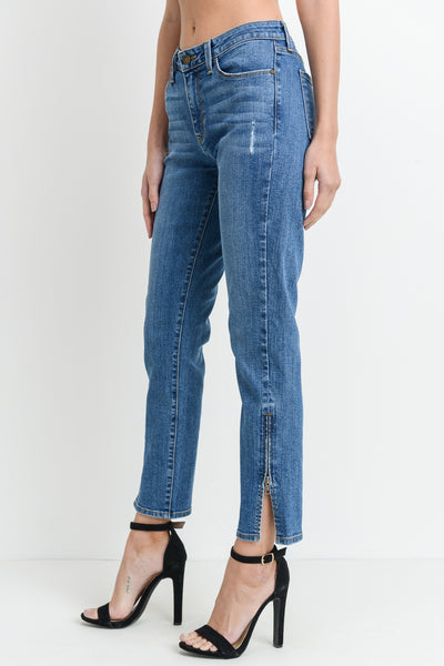 Slim Straight Denim Jeans with Side Zipper
