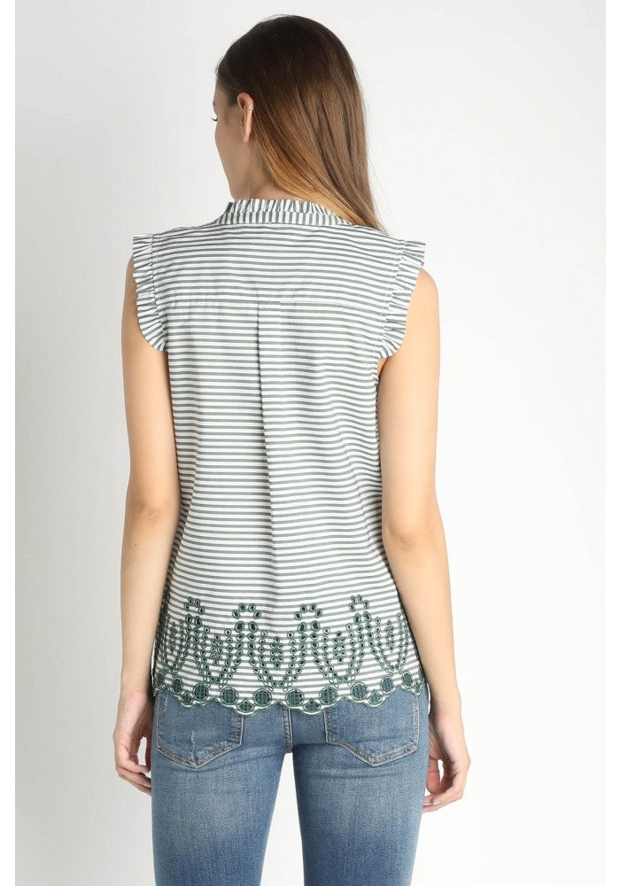 Embrodered Scalloped Hem Top