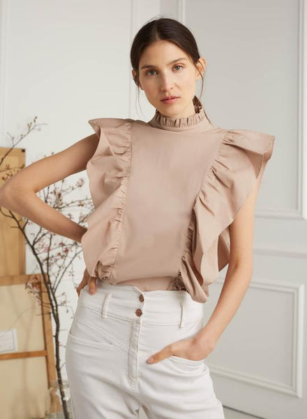 """Sarah"" Sleeveless Ruffled Top"