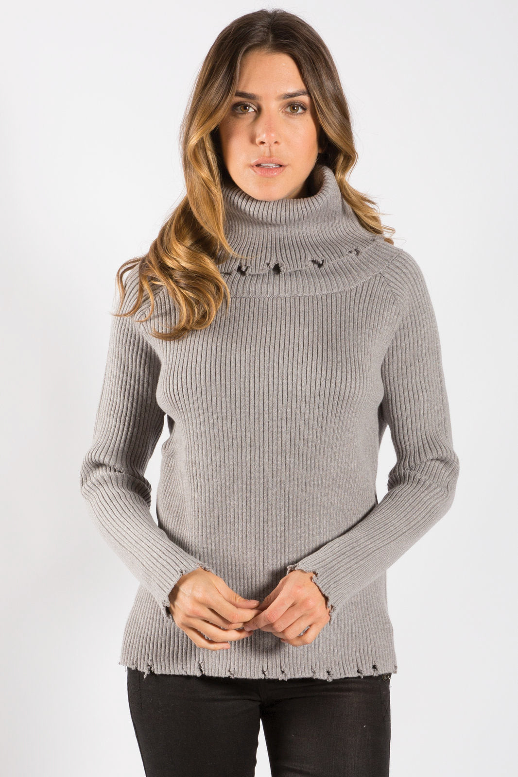 Grey Long Sleeve Ribbed Turtleneck Sweater