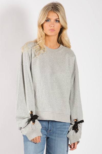 Sweatshirt with Tie Sleeves