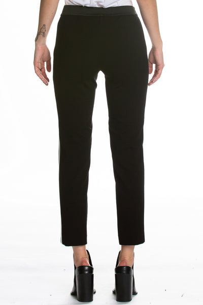 Black Skinny Pants with White Side Stripe