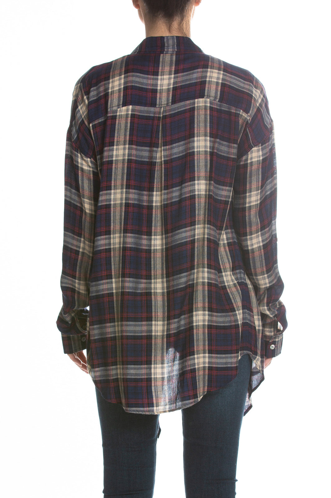 Navy Plaid Long Sleeve Open Front Top