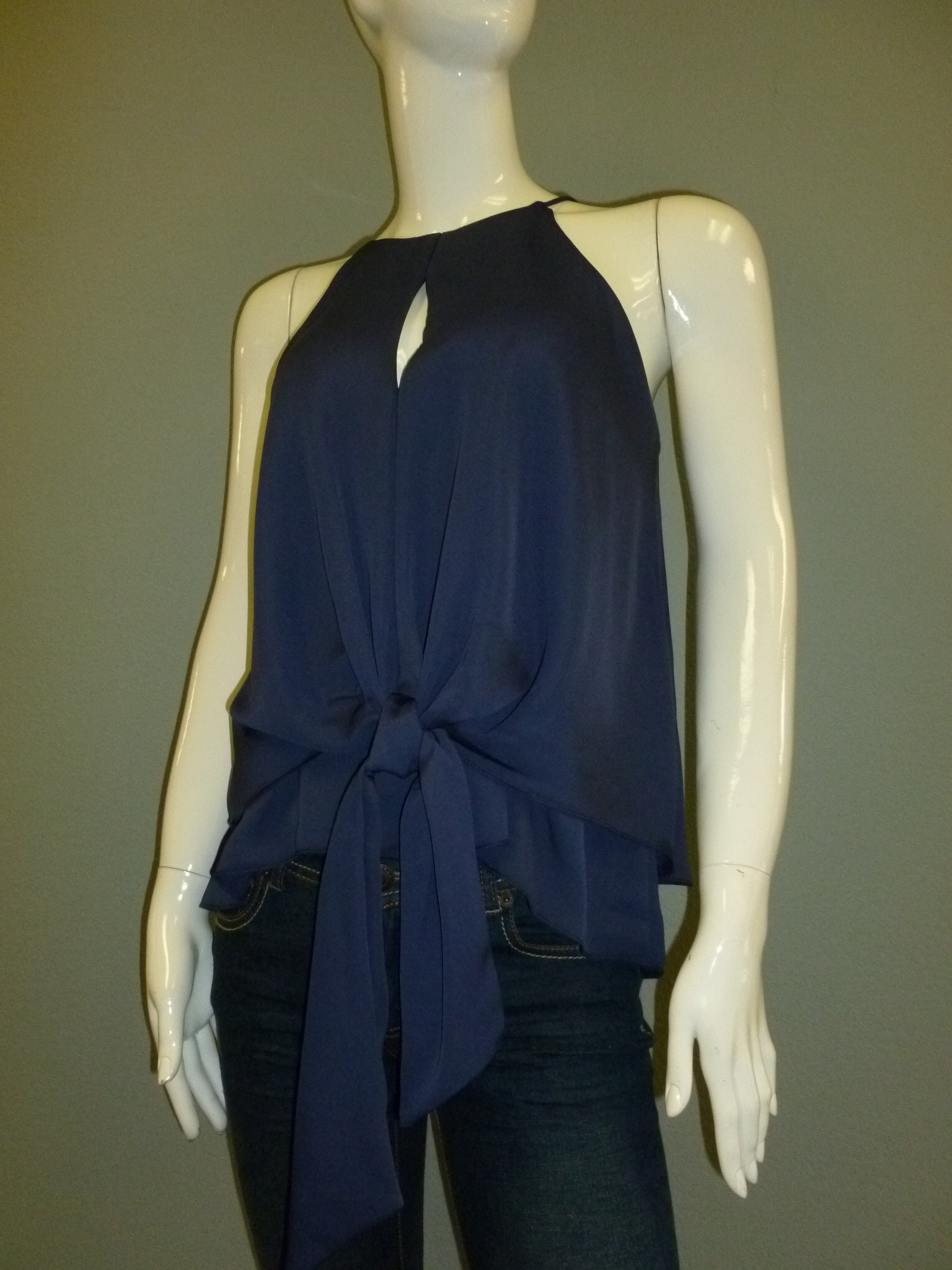 Navy Blue Sleeveless Double Layer Top