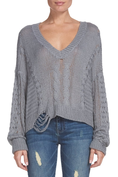 V-Neck Sweater with Distressing