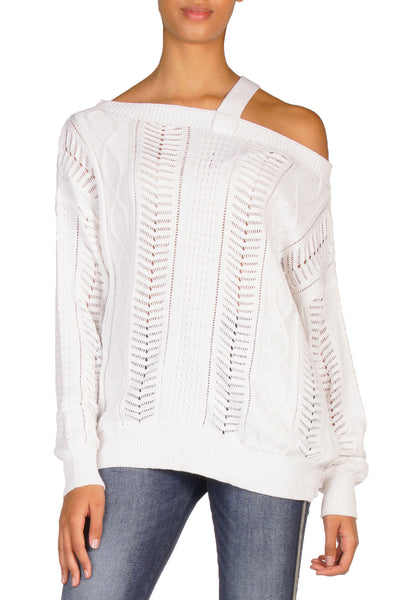 White Off the Shoulder Sweater