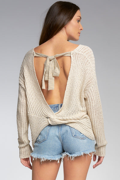 Loose Knit Tie Back Sweater