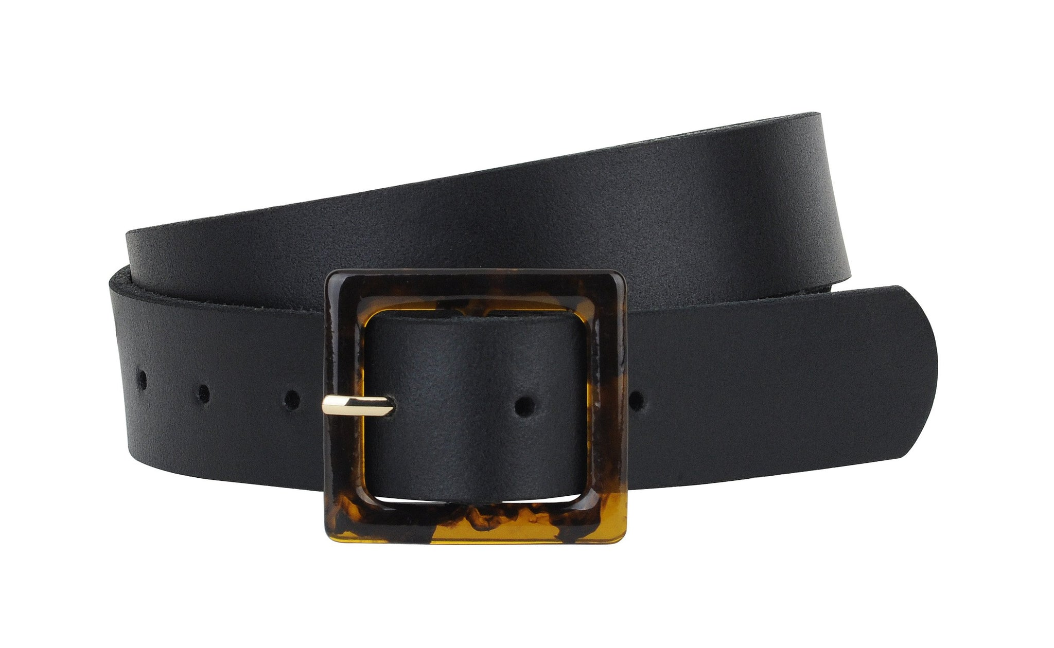 Leather Belt with Square Resin Tortoise Buckle