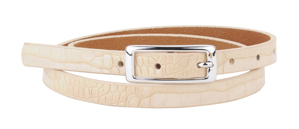Skinny Leather Croc Belt with Silver Buckle