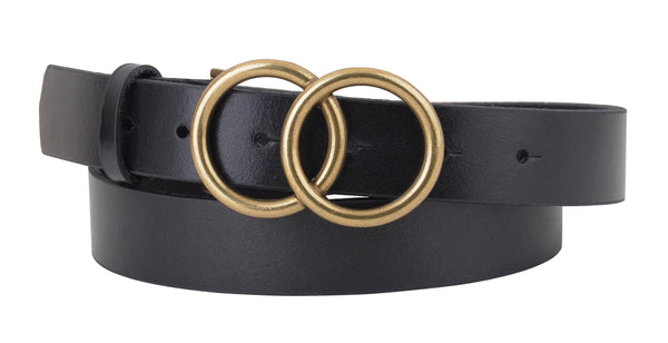 Black Leather Belt with Double Circle Buckle