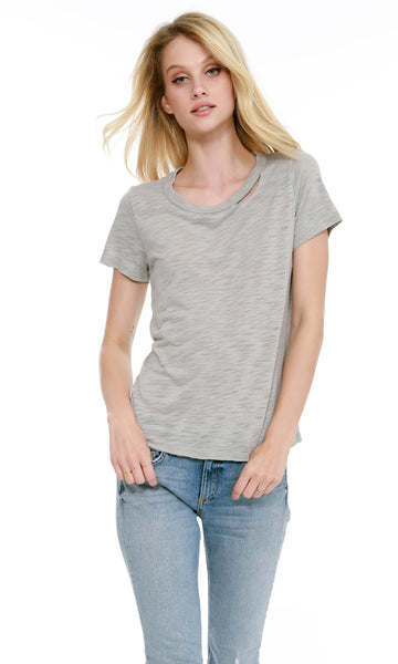 Short Sleeve Cut Out Neck T-Shirt