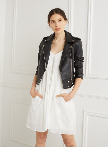 Ivory Faux Leather Cropped Moto Jacket