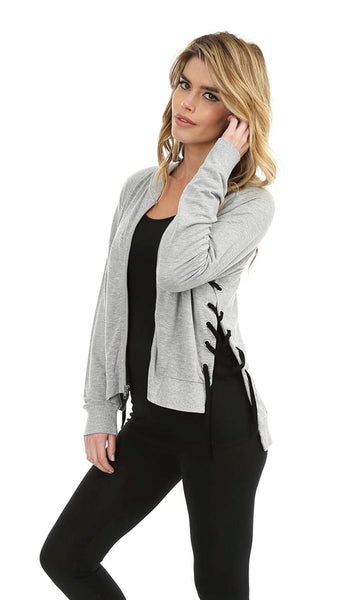 Grey Zip Up Jacket with Side Lace Up