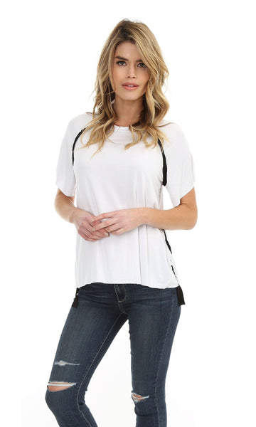 Short Sleeve Tee with Trim Detail