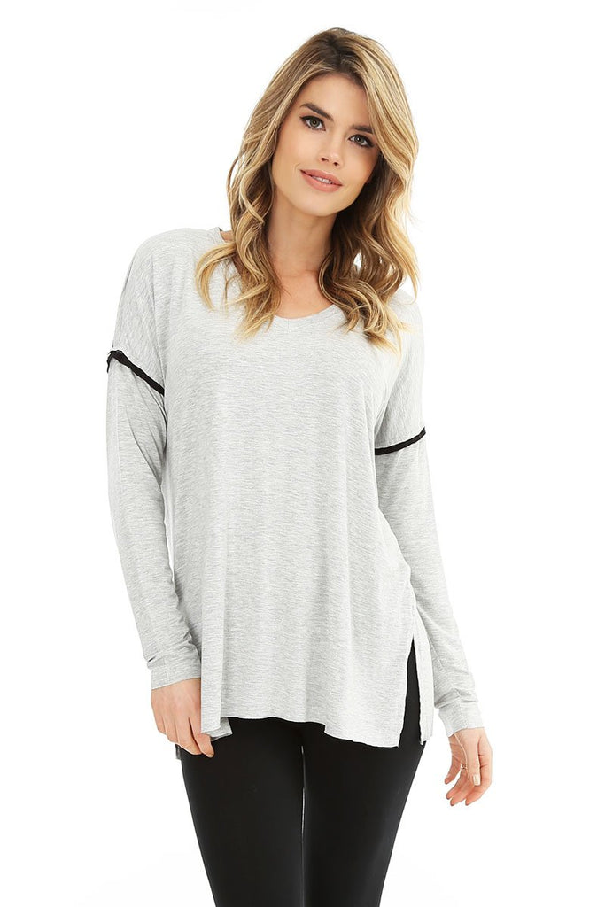 Grey Long Sleeve V-Neck Top with Black Trim