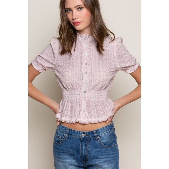 Pink Button Down Ruffled Top