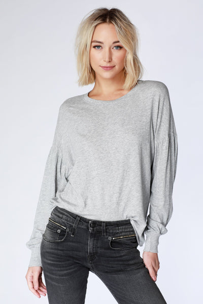 Black Long Shirred Sleeve Top