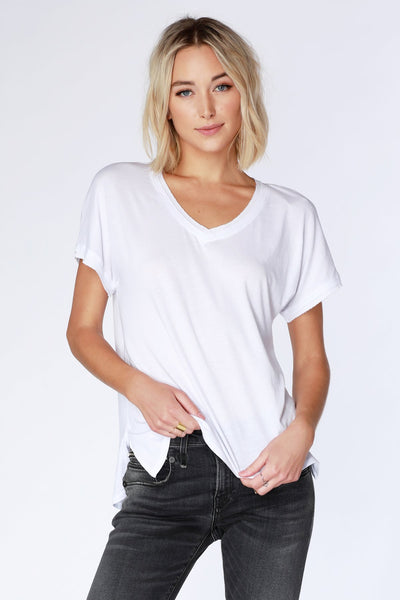 White Short Sleeve Dolman Sleeve V-Neck Tee