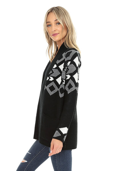 Black and White Jacquard Open Cardigan