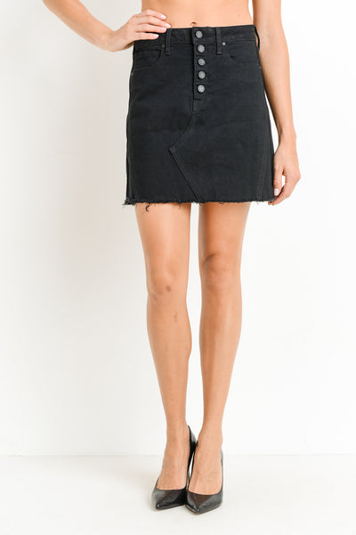 Black Denim Button Down Mini Skirt