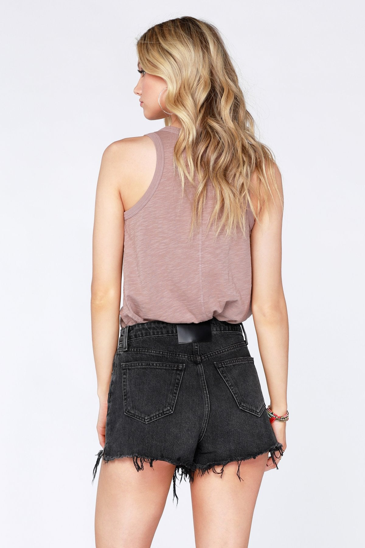 Ribbed Henley Racerback Tank Top