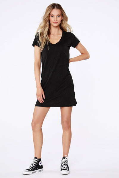 Short Sleeve V-Neck T-Shirt Dress