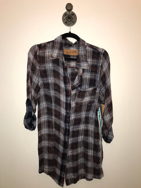 Blue Plaid with Patch Flannel Shirt