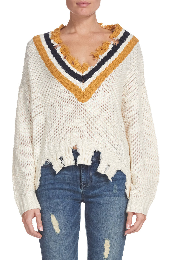 Ivory Distressed Sweater with Mustard Stripe