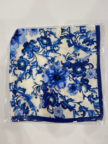 Blue Floral Print Neckerchief