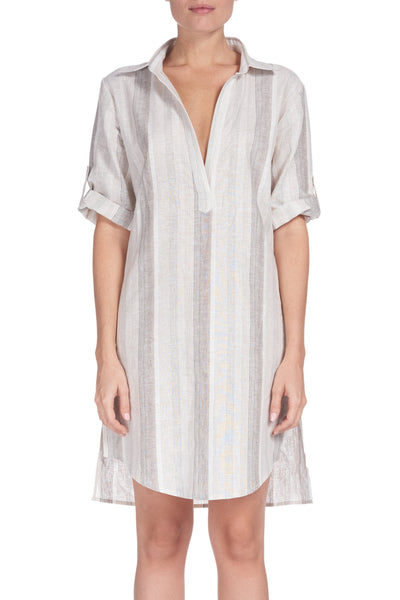 Tan Stripe Shirt Dress