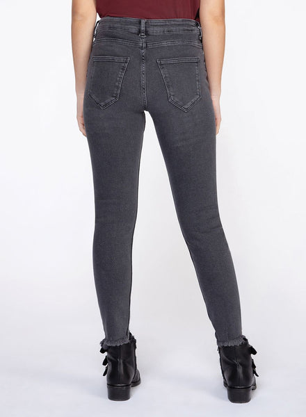 Charcoal Grey Mid Rise Skinny Jeans