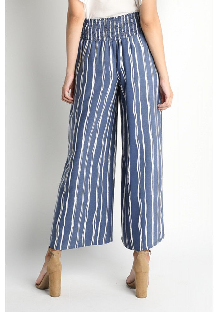 Navy/White Striped Pants with Grommet Tie Waistband