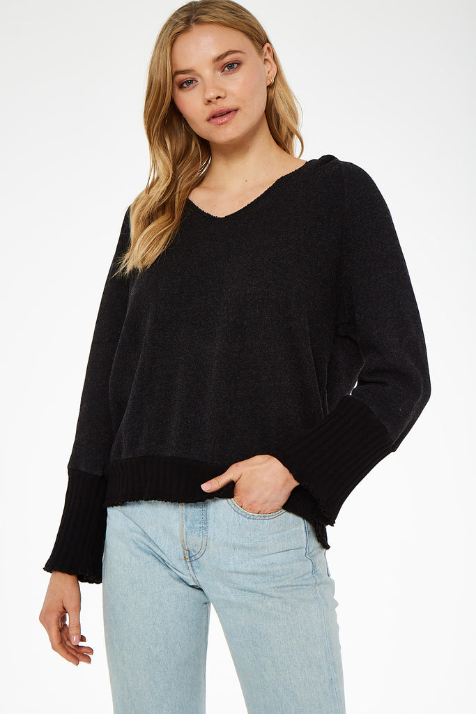 Black V-Neck Hoodie with Wide Ribbed Cuffs
