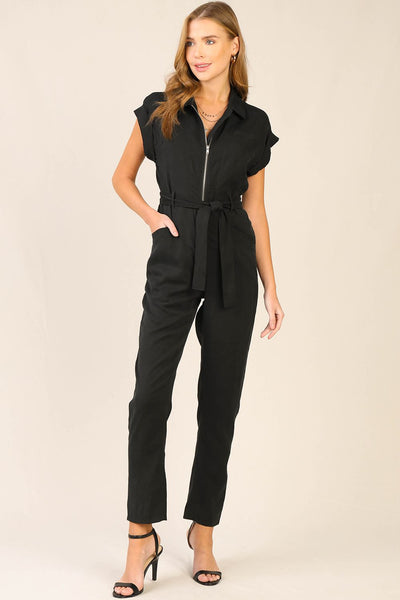 Black Cuff Sleeve Utility Jumpsuit