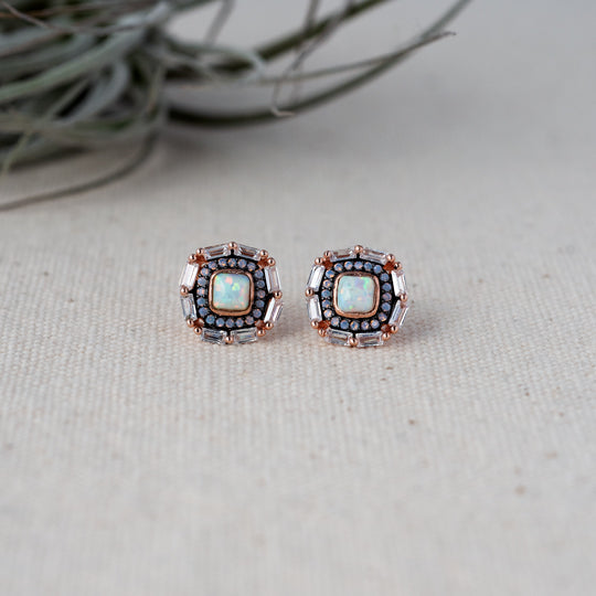 Rose Gold Studs with Synthetic Opal