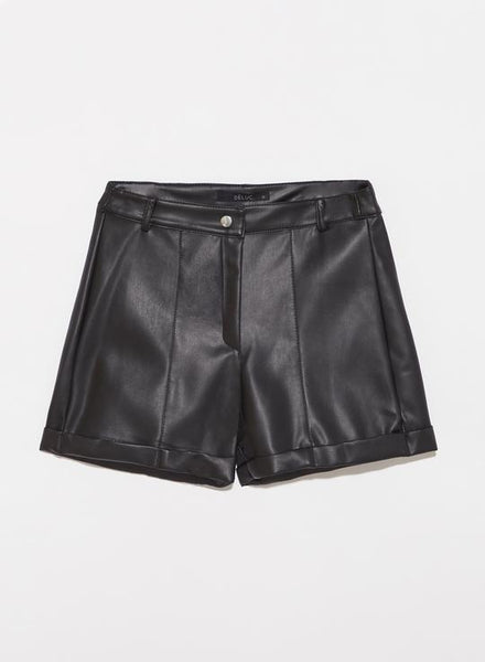 "Black ""Megan"" Vegan Leather Hise Rise Shorts"