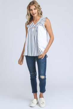 Sleeveless Striped and Embroidered Top