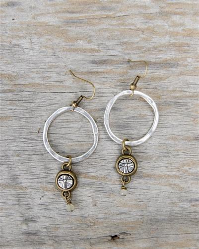 Silver Circle and Cross Earrings