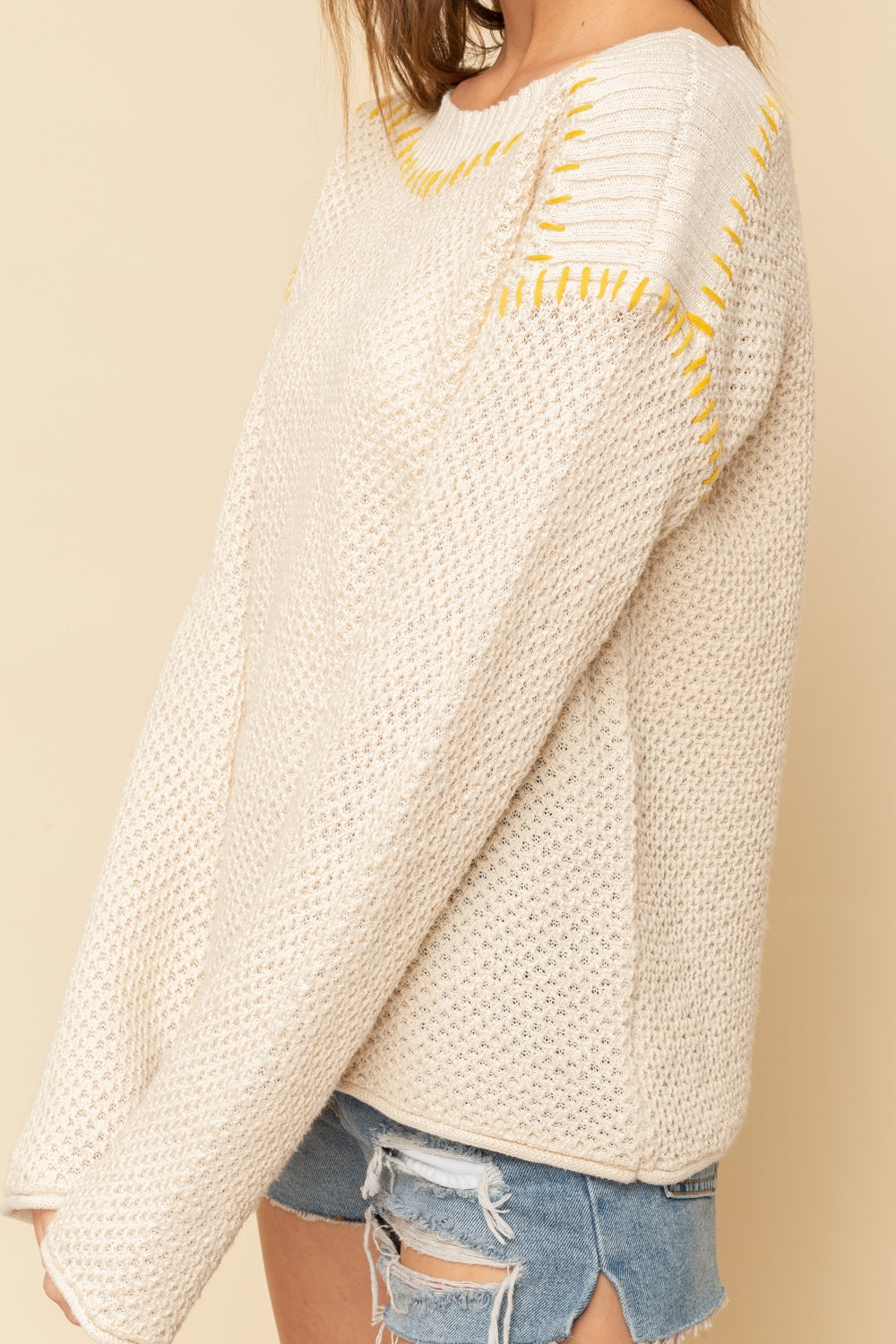 Ivory Sweater with Mustard Stitching