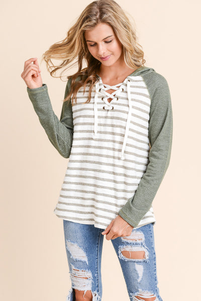 Olive Green Striped Lace Up Hoodie