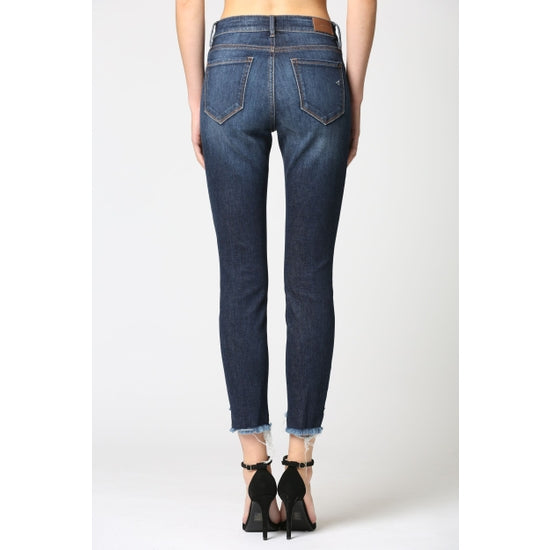 Dark Denim Fray Hem Step Hem Skinny