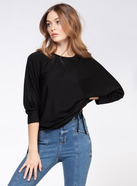 Black 3/4 Dolman Sleeve Top with Side Drawstring
